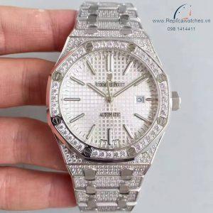 Audemars Piguet Royal Oak White Full Diamond Replica 1-1 Cao Cấp