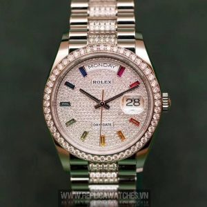 Rolex  Day-Date 128345 Vàng Nguyên Khối 18k Kim Cương Thiên Nhiên