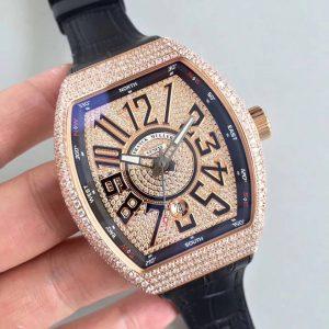 Đồng Hồ Franck Muller Super Fake  Vanguard V45 Gold Diamond