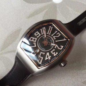 Đồng Hồ Franck Muller Replica 1-1 Vanguard Black Leather Strap V45