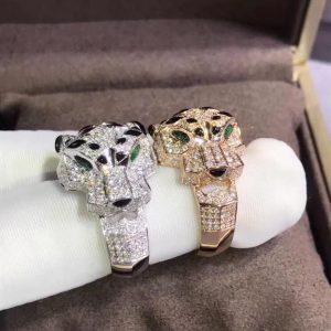 Nhẫn Cartie Đầu Báo Vàng 18K Lục Bảo